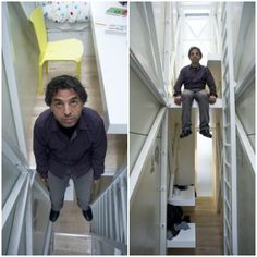 The World's narrowest house.  Despite the impossibly narrow measurements, the photos reveal a surprisingly spacious interior and a well-lit space. The designer was able to squeeze in a kitchen, dining room, bathroom and bedroom (with a floating desk!) all into the space