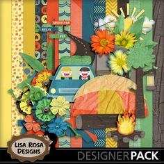 Summer Camping - A kit full of camping elements, flowers, greeneries and ribbons to scrap your summer adventures! http://www.mymemories.com/store/designers/Lisa_Rosa_Designs/?r=lisa_rosa_designs