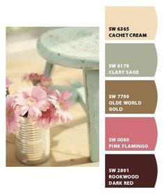shabby chic. Paint colors from Chip It! by Sherwin-Williams. I am inlove with these colors.