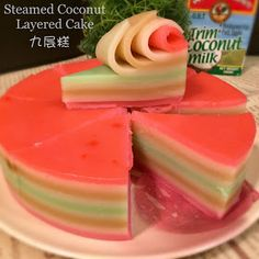 My family preferred my homemade steamed coconut layered cake as it has less fat, less sugar, and less food colourings as compared to . Asian Snacks, Asian Desserts, Just Desserts, Jello Recipes, Bakery Recipes, Dessert Recipes, Malaysian Dessert, Indonesian Desserts, Petit Cake