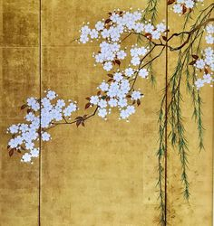 Detail. Cherry Trees. One of a pair of Japanese Folding Screens: Maples and Cherry Trees. by Sakai Hoitsu 酒井抱一. Edo period. The Denver Art Museum.