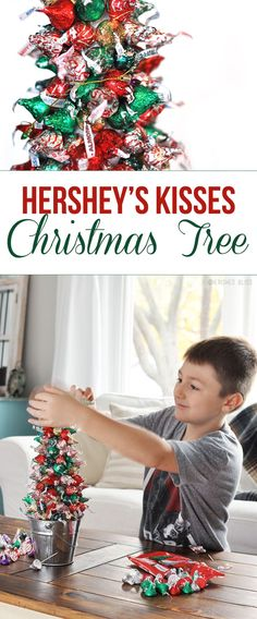 Create beautiful memories with your family by making a simple Hershey's Kisses Christmas Tree!
