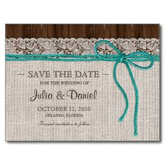 Turquoise And Brown Rustic Wedding Save The Date Postcard