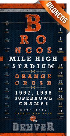 Denver Broncos  Mile High Club Eye Chart  Perfect by RetroLeague, $26.50