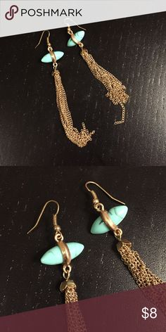 turquoise & gold fringe earrings NWOT! Dangly earrings with a turquoise piece and long gold fringe. I bought these on Hautelook and just haven't worn them enough. Jewelry Earrings