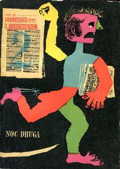 """""""Opowieści z dreszczykiem. Noc druga"""" Selected and edited by Maxim Lieber Poems translated by Włodzimierz Lewik Cover by Jan Młodożeniec (Mlodozeniec) Published by Wydawnictwo Iskry 1960"""