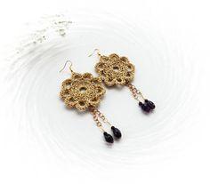 Uncinetto orecchini - grandi Orecchini - Orecchini - Orecchini agata viola fiore Orecchini - Orecchini d'oro-