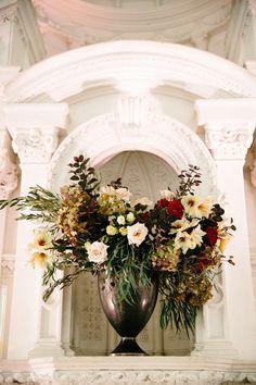 A fabulous fall wedding at Vibiana as featured on 100 Layer Cake! Creative team: Photographer: Jenn Emerling / Venue: #Vibiana / Design & Coordination: Mein Schatz Events / Florist: #HollyFlora / Hair & Makeup: The Braid Studio / Paper Goods: Lavender and Mint / Invitations: Paperless Post / Catering: Redbird / Vintage Furniture: Archive Rentals / Linen: La Tavola Fine Linen / Band: #KlezisMore / Poet: POEM STORE / DJ: #DartDJ / Bride's Dress: Monique Lhuillier from The Paper Bag Princess…