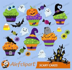 Items similar to Halloween cupcake clipart digital clip art. on Etsy Halloween Painting, Halloween Signs, Holidays Halloween, Halloween Decorations, Halloween Sweets, Cupcake Clipart, Halloween Cupcake Toppers, Simple Collage, Cool Ideas