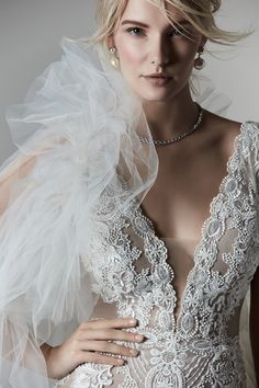 Vintage trends evolve, so this boho sheath bridal dress is Renaissance meets Victorian meets Mega babe in one extraordinary package. White Wedding Gowns, V Neck Wedding Dress, Designer Wedding Gowns, Perfect Wedding Dress, Boho Wedding Dress, Bridal Dresses, Lace Wedding, Sottero And Midgley Wedding Dresses, Sottero Midgley