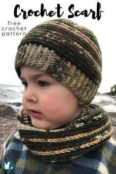 Crochet Scarf Easy crochet scarf for kids! Pick yarns perfect for a boy or girl and make this quick infinity scarf with the free crochet pattern. Crochet Kids Scarf, Crochet For Boys, Crochet Scarves, Easy Crochet, Crochet Baby, Free Crochet, Irish Crochet, Crochet Children, Crochet Cowls