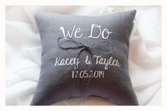 We Do Wedding ring pillow , ring beare pillow , embroidered pillow , personalized ring pillow  , personalized wedding pillow (R76) by KoTshop on Etsy