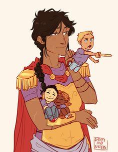 Reyna, Jason, Frank y Hazel