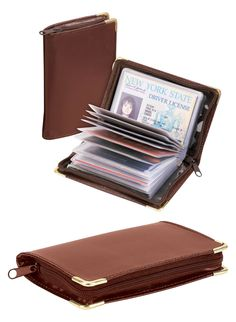 """This deluxe leather wallet with brass corners provides zip-around protection for your credit cards, ID and photos. It securely holds 34 cards in 16 transparent vinyl sleeves and 2 cover pockets. This credit card holder is great for men and women, it fits easily in pocket or purse. 4 7/8"""" x 3 1/8""""."""