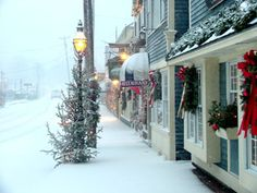 This is a gorgeous picture of the Kennebunkport Maine Christmas Prelude Coastal Christmas, Winter Christmas, Christmas Time, Christmas Travel, Christmas Porch, Winter Snow, Christmas Lights, Merry Christmas, Winter Scenery