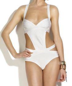 White Bandage Cut Out Swimsuit