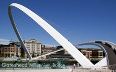 Gateshead Millennium Bridge: Newcastle, England:   How to design a pedestrian-, bike-, and wheelchair-friendly bridge that can still allow battleships up to 82 ft tall to pass beneath. The solution: an elegant hinging bridge comprising 2 arches.The bridge pivots through 40 degrees in just over 4 minutes, elevating the wide sweep of walkway into an elegant tall double arch—an action that has earned it the nickname The Winking Eye.