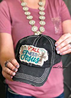 Vintage Black Ya'll Need Jesus Cap. #cap #hat #jesus #countrygirl #womenswear #womensfashion  https://cheekysboutique.com