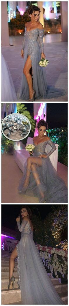 2016 Charming Off the Shoulder Prom Dress http://meetdresses.storenvy.com/products/16021275-2016-charming-off-the-shoulder-prom-dress-appliques-grey-long-sleeves-evenin