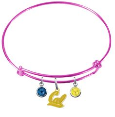 California Golden Bears Style 2 NCAA Color Edition Expandable Wire Bangle Charm Bracelet