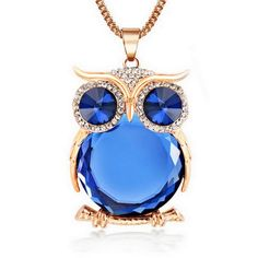 8 Colors Trendy Rhinestone Crystal Owl Pendant Necklace //Price: $13.49 & FREE Shipping //     #hashtag2