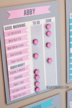 #FreePrintable chore charts in pink and blue. Get more #freeprintables at…