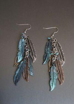 Cowgirl Bling Gypsy BOHO FEATHER EARRINGS Copper Silver Gold tone metal LOVE!! #davinci #earrings