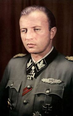 Brigadeführer Hermann Fegelein was a senior officer of the Waffen-SS. Fegelein rose quickly through the ranks and was briefly sent to the Russian front in 1943 with the Florian Geyer Cavalry Division. He served under Heydrich, and was involved in the rituals at Wewelsburg Castle.  He was a member of Adolf Hitler's entourage, and brother-in law to Eva Braun through his marriage to her sister, Gretl. He supposedly died before Braun married Hitler,details of his death are controversial.