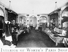 English fashion designer: Charles Frederick Worth, (1825-1895). Interior of the House of Worth, in France, his Parisian design shop. ~ Popular in Europe, Worth also designed many of the American Gilded Age era fashioned gowns, worn by high society ladies of the era. ~~ {cwl}