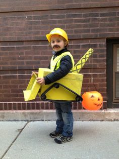 Bulldozer Crane construction worker Halloween costume.