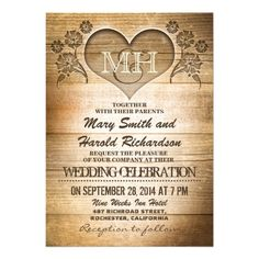 rustic wood country wedding invitations. original and modern rustic wood Wedding Invitations with love heart carving and country style typography.