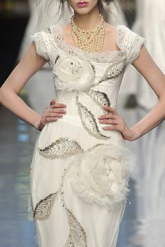 John Galliano for Christian Dior dress with leaves