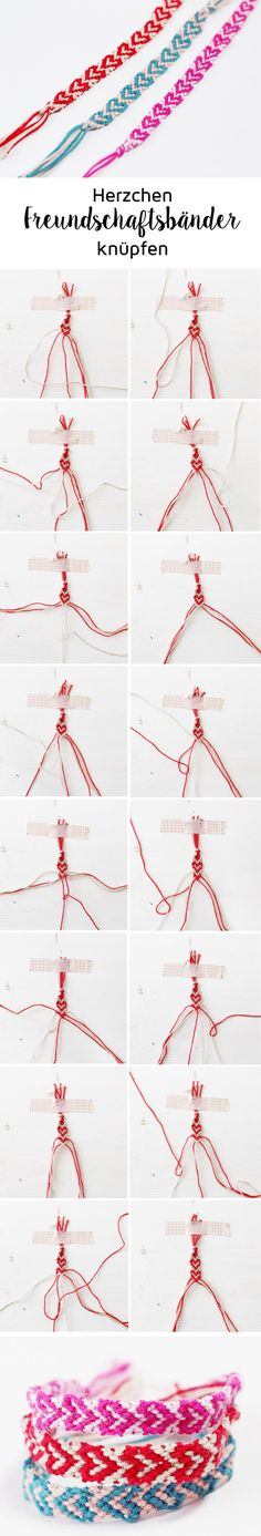 Making Friendship Bracelets with Hearts - Simple DIY Guide - Madmoisell DIY Projekte⎪ Basteln & Selbermachen - Macrame Diy Guide, Diy Gifts, Great Gifts, Making Friendship Bracelets, Diy Accessoires, Bracelet Tutorial, Bracelet Patterns, Diy For Kids, Diy Tutorial