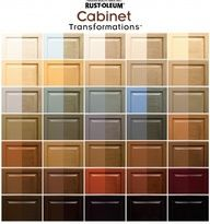 The Cabinet Transformations product is a kit sold in home improvement stores (definitely at Lowes and Home Depot). Its a water-based, multi-purpose product for use on wood, laminate, melamine and metal. You take the kit up to the paint counter and ask them to tint it in one of 35 different colors. The process is four steps and its really no more difficult than painting and wiping. by Lindsay