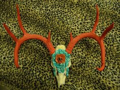 Decorated Deer Skull by FunkyHomeDecor on Etsy, $100.00