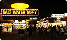 The BEST salt water taffy !!!   When I was little, I always love watching taffy being made with my nose and hands pressing on the window :)