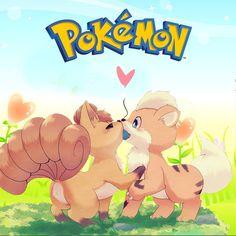 "Pokemon Time on Instagram: ""Vulpix and growlithe cute pokemon couple 😍😍😗😙😘"""