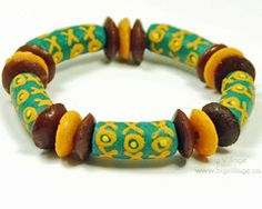 Teal, Brown and Mustard Yellow Tribal Bracelet Featuring Recycled Glass, Fair Trade Beads $16