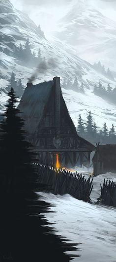 The Iron Wolf Barbarians, Art numérique par Noah Bradley Environment Concept Art, Environment Design, Fantasy Places, Fantasy World, Medieval Fantasy, Dark Fantasy, Fantasy Setting, Illustration, Fantasy Landscape