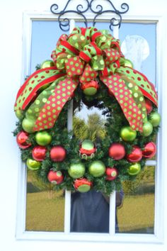 Polka Dots Christmas Wreath by Motherdaughterflowe1 on Etsy