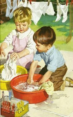 Washing clothes in tub - image from Lady bird books Images Vintage, Vintage Pictures, Vintage Cards, Vintage Prints, Vintage Posters, Laundry Art, Ladybird Books, Vintage Laundry, Norman Rockwell