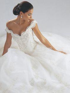 wedding dresses off the shoulder sweetheart | ... Sweetheart Scalloped Neckline Off The Shoulder Straps Wedding Dress