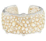 Judith Ripka Sterling Aurora White Mother-of-Pearl Wide Cuff - J281193