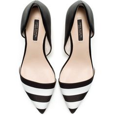 Zara Black And White Combination Heels (78 CAD) ❤ liked on Polyvore featuring shoes, pumps, heels, zara, flats, multicolour, black white pumps, zara shoes, colorful flats and multi color flats