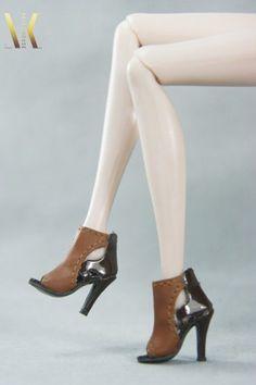 SK089 Brown Peep-toe High Heels Shoes for Fr, Fr2, DG, Momoko, Barbie, Azone #SKCouture
