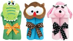AM PM Kids hooded bath towels for kids with over 20 different characters in stock.  Personalize one today for the perfect birthday or baby shower gift. Great prices and fast processing from Stitch Sensations....   Dinosaur, Poodle, Owl, Princess, Frog, Monkey, Bunny, Flower, Horse, Lion, Puppy, Duck and more....
