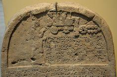 This is the upper par of the limestone stela of Sennacherib, king of Assyrian. The king is praying in front god symbols. From Kuyunjik (modern-day Ninawa Governorate, Iraq). 705-681 BCE.