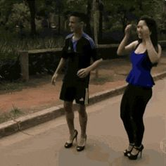 Dribbling the ball in heels - haha guys can't do anything in heels :)