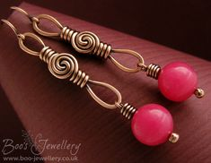 Rosebud knot looped link earrings featuring intensely coloured raspberry jade beads.