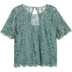 H&M+ Lace Blouse $34.99 (2.020 RUB) ❤ liked on Polyvore featuring tops, blouses, button blouse, h&m blouses, short sleeve lace top, short sleeve tops and green jersey